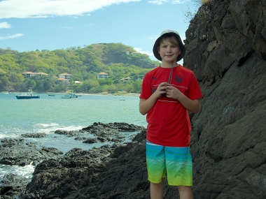 Caleb, with Playa Ocotal in the background
