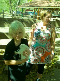 Kieran cuddling up one of the Albino bunnies