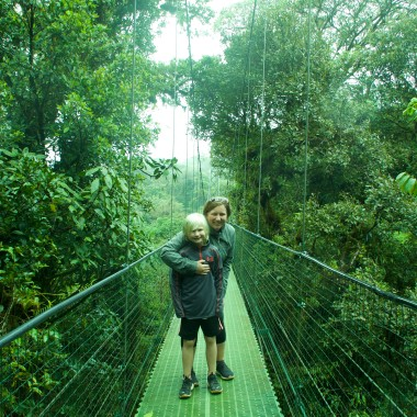Wendy and Kieran on the suspension bridge at Monteverde Cloud Forest