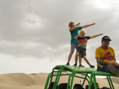 The boys after conquering our dune buggy adventure