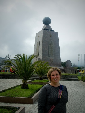 Wendy in front of the official monument