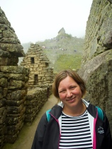 Wendy near the royal quarters at Machu Picchu