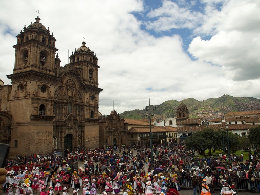 The Carnaval crowds at Cusco's main squaire
