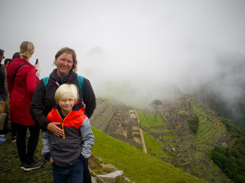 Me and my Mom in front of Machu Picchu (and some fog)